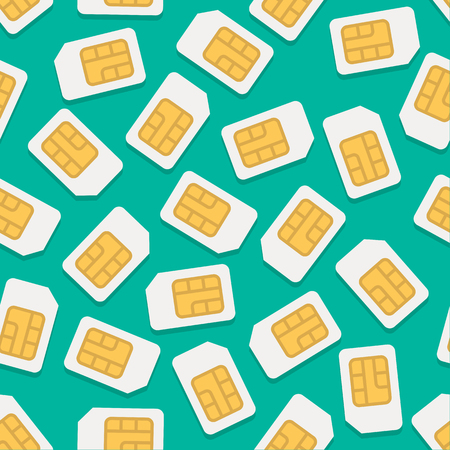 Vector seamless background with simcard in flat style Vector