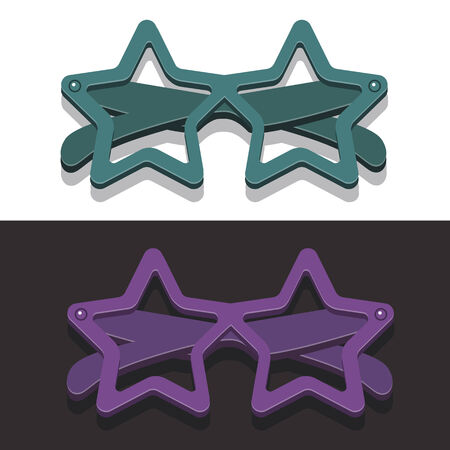 corrective lenses: Vector image points in the form of stars in retro style