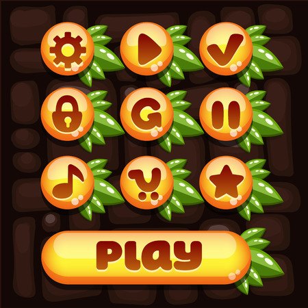 okey: Super set of vector elements for mobile games with yellow elements and composition of the juicy green leaves Illustration