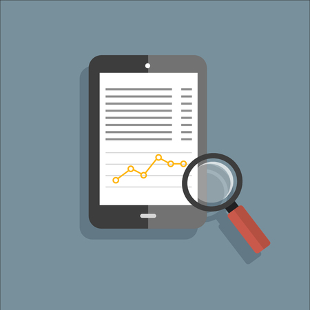 magnifying glass icon: Tablet Magnifyng flat vector icon