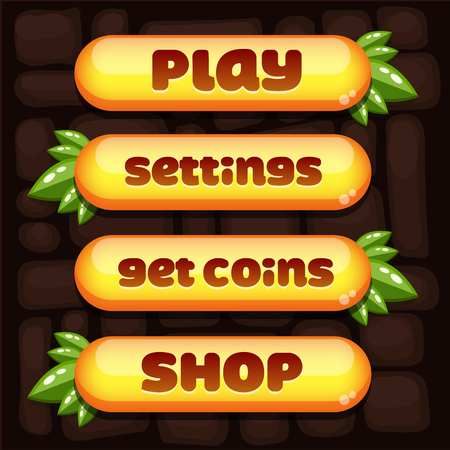 Super set of vector buttons for the menu of the mobile arcade and casual games to get into the top.