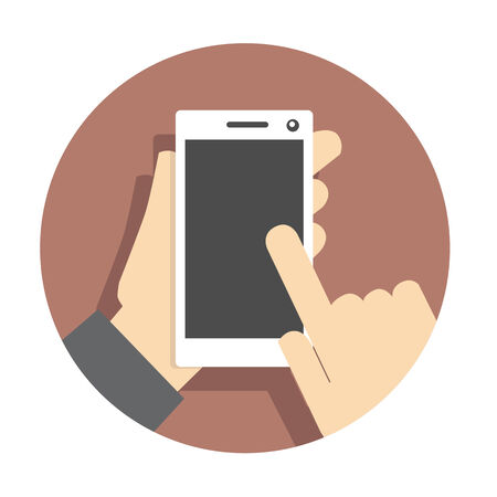 Vector flat icon mobile touch