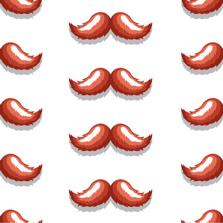 hair mask: Vector pattern background retro brown mustache in an elegant style