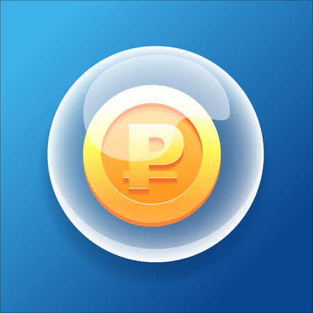 gold coin: Vector Game Icon Bubble Gold Coin Money Bonus Ruble