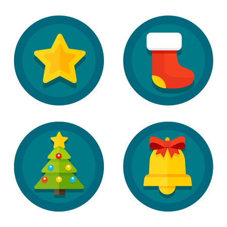Set of vector icons of flat to Christmas and New Year on the background of the round Vector