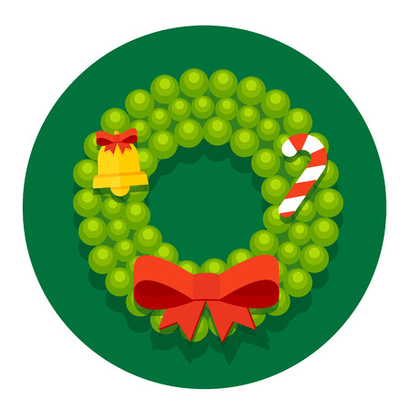 karri: Stock flat round icon with Christmas or New Years holiday wreath of fir branches and bow