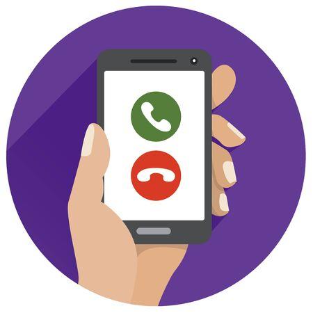 Flat icon Green call mobile icon