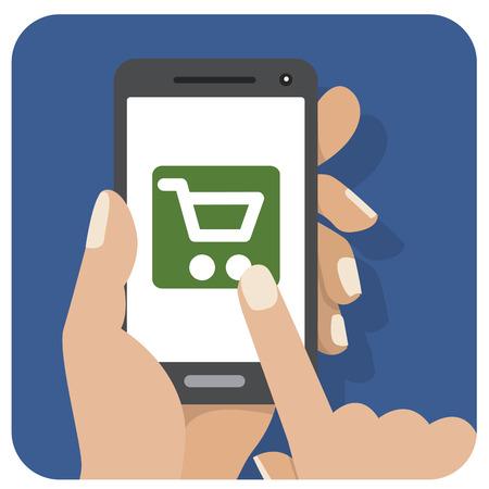flat screen: Flat icon mobile screen shop