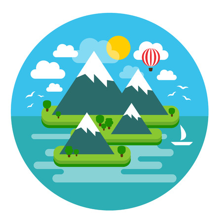 illustration of a summer Paradise island in the ocean, perfect for a getaway vacation Illustration
