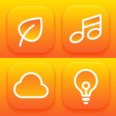 bright orange set of icons for applications with picture messages, clouds, lamp, notes