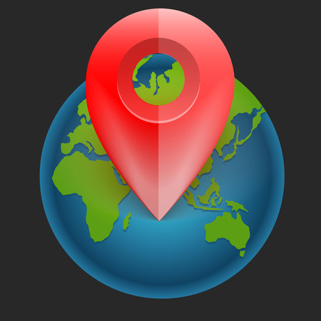 coordinates: icon for use on websites with a map and label with coordinates