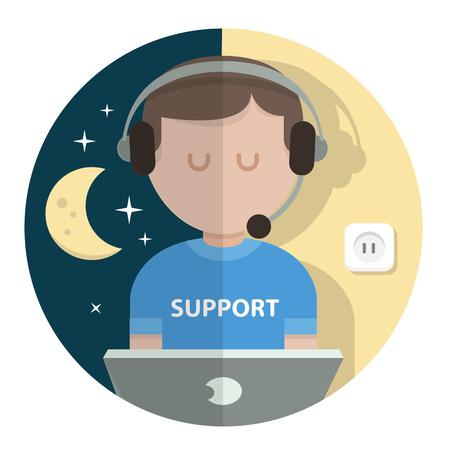computer operator: set illustration man support