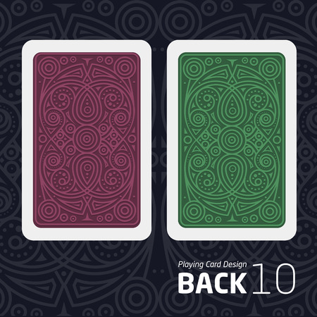 reverse side of a playing card for blackjack other game with a pattern.