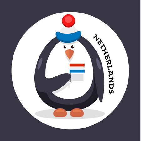 map of netherlands: vector penguin cheerleader patriot of the country Stock Photo