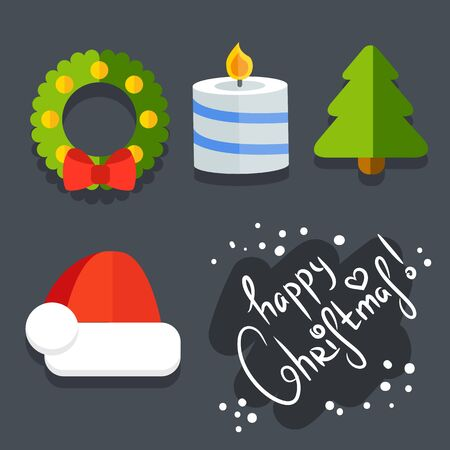 vector Set of Christmas icons in flat style Illustration