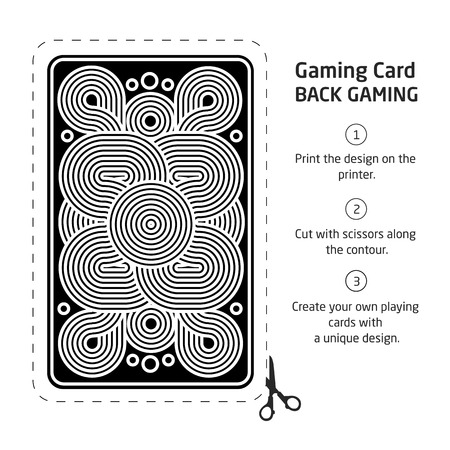 side border: reverse side of a playing card for blackjack other game with Illustration
