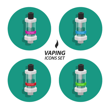 vaporized: Set collections vaping flat icons