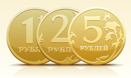 Vector gold metallic Russian coin ruble