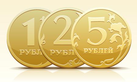 Vector gold metallic Russian coin ruble