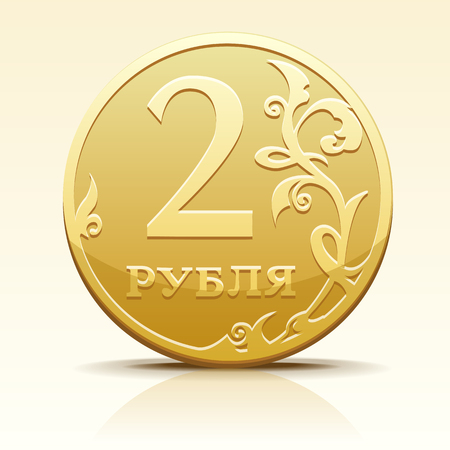 rouble: Vector gold metallic Russian coin ruble
