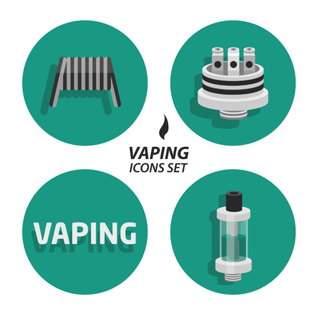 e cigarette: Set collections vaping flat icons