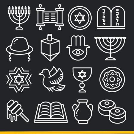 jews: Vector lines icons pack collection jew set