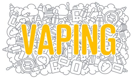 glycol: Vector line illustration vaping image trend graphic