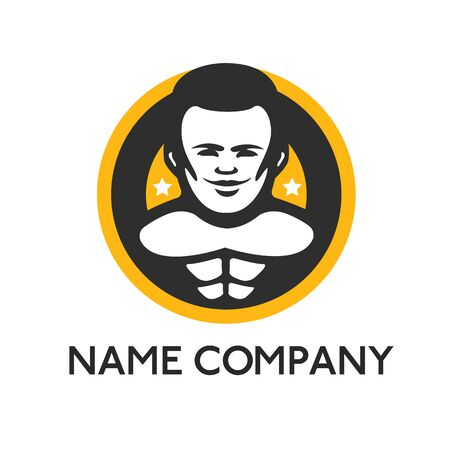 circular muscle: Vector logo template avatar man icon head Illustration