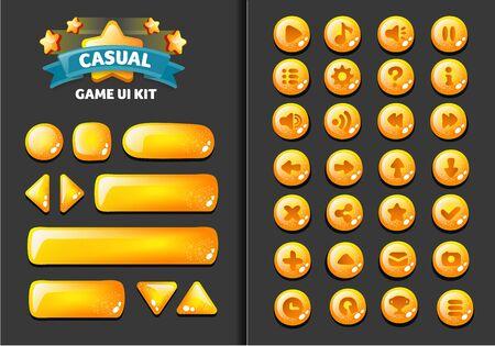 verzameling glazen knoppen voor mobiele ontwikkeling, casual games, ui-kit