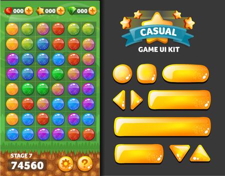 el fondo y los botones para el desarrollo de juegos móviles, kit de diseño de interfaz de usuario Ilustración de vector