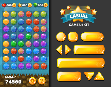 background and buttons for mobile game development, ui design kit