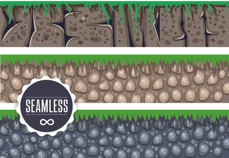 scrolling: vector collection horizontal seamless backgrounds for casual games, earth rocks grass