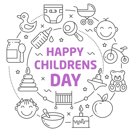 childrens playing: Vector Line Art Illustration in Flat styles happy childrens day
