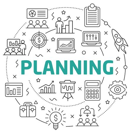 Linear illustration for presentations in the round planning
