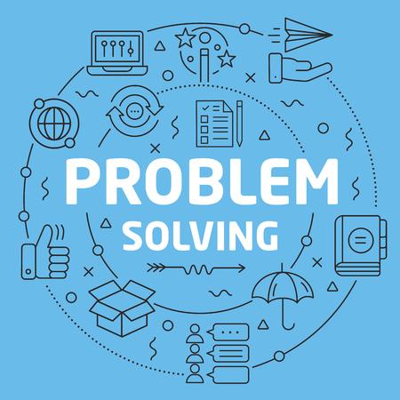 Blue Line Flat Circle illustration problem solving