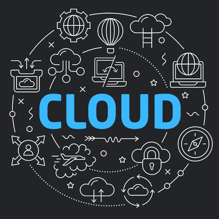 Black Line Flat Circle illustration cloud Illustration