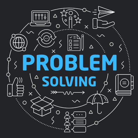 Black Line Flat Circle illustration problem solving