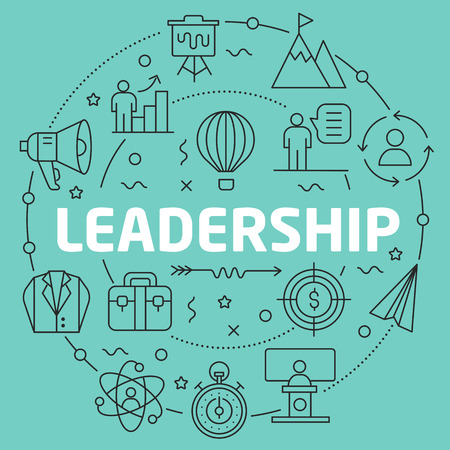 drawing pin: Green Line Flat Circle illustration leadership
