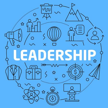 Leadership Blue Lines Illustration for prsentation