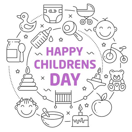 Happy childrens day Lineaire illustratie Stock Illustratie