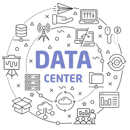 Data Center Linear illustration slide for the presentation