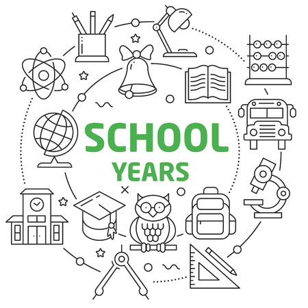 School years Linear illustration