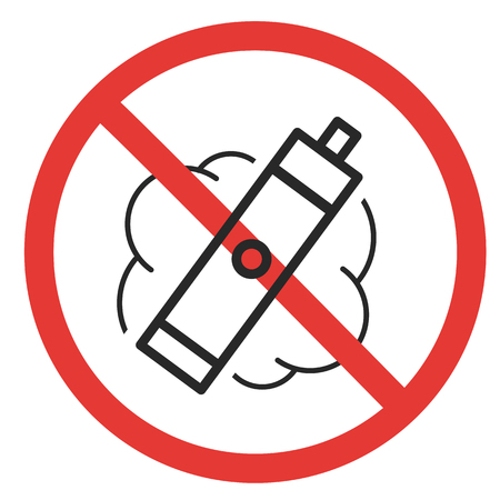prohibitory sign vaping ban e-cigarette isolated vapor Illustration