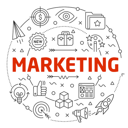 Flat lines illustration for presentation marketing Ilustrace