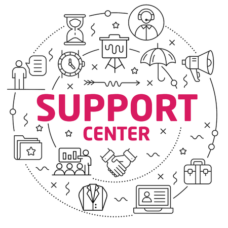 Flat lines illustration for presentation support center