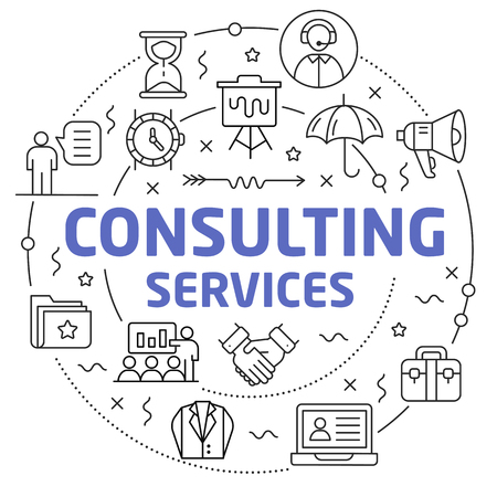 Flat lines illustration for presentation consulting services