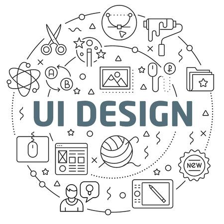 Flat lines illustration for presentation and icons Illustration