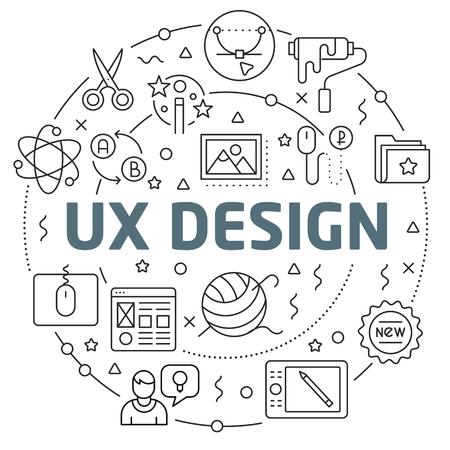 Flat lines illustration for presentation ux design