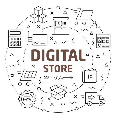 Flat lines illustration for presentation digital store