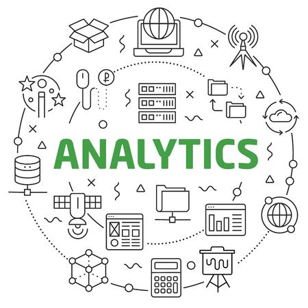 Flat lines illustration for presentation analytics
